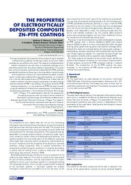 THE PROPERTIES OF ELECTROLYTICALLY DEPOSITED COMPOSITE ZN-PTFE